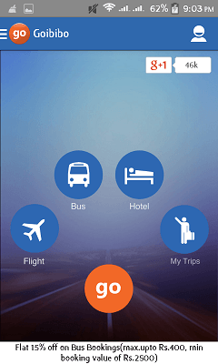 Earn Free 1000 Rs. Gocash From Goibibo Android App