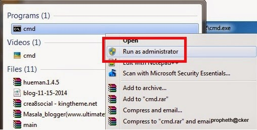 Open Command Prompt as Administrator in your Window PC