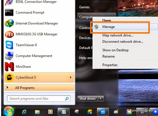 Open Manage Section in Window Computer