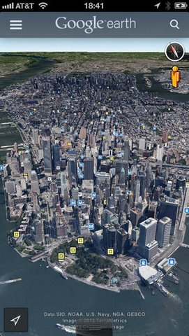 Explore Google Earth in 3D in iPhone