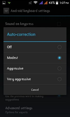 Turn off Auto Correction