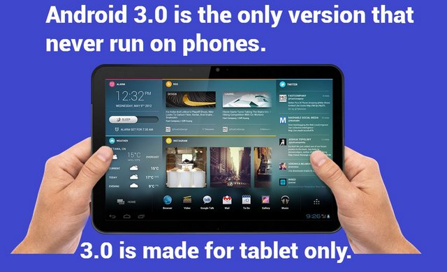 Android 3.0 is the only version to never run on phones
