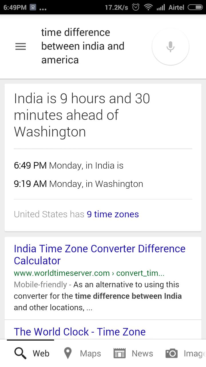 Check Time Difference between Country