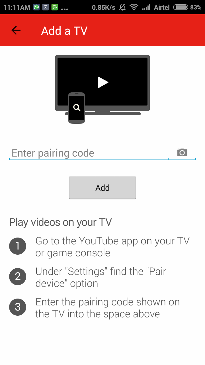 Youtube Android App Connected TV Settings Pair Code Add TV