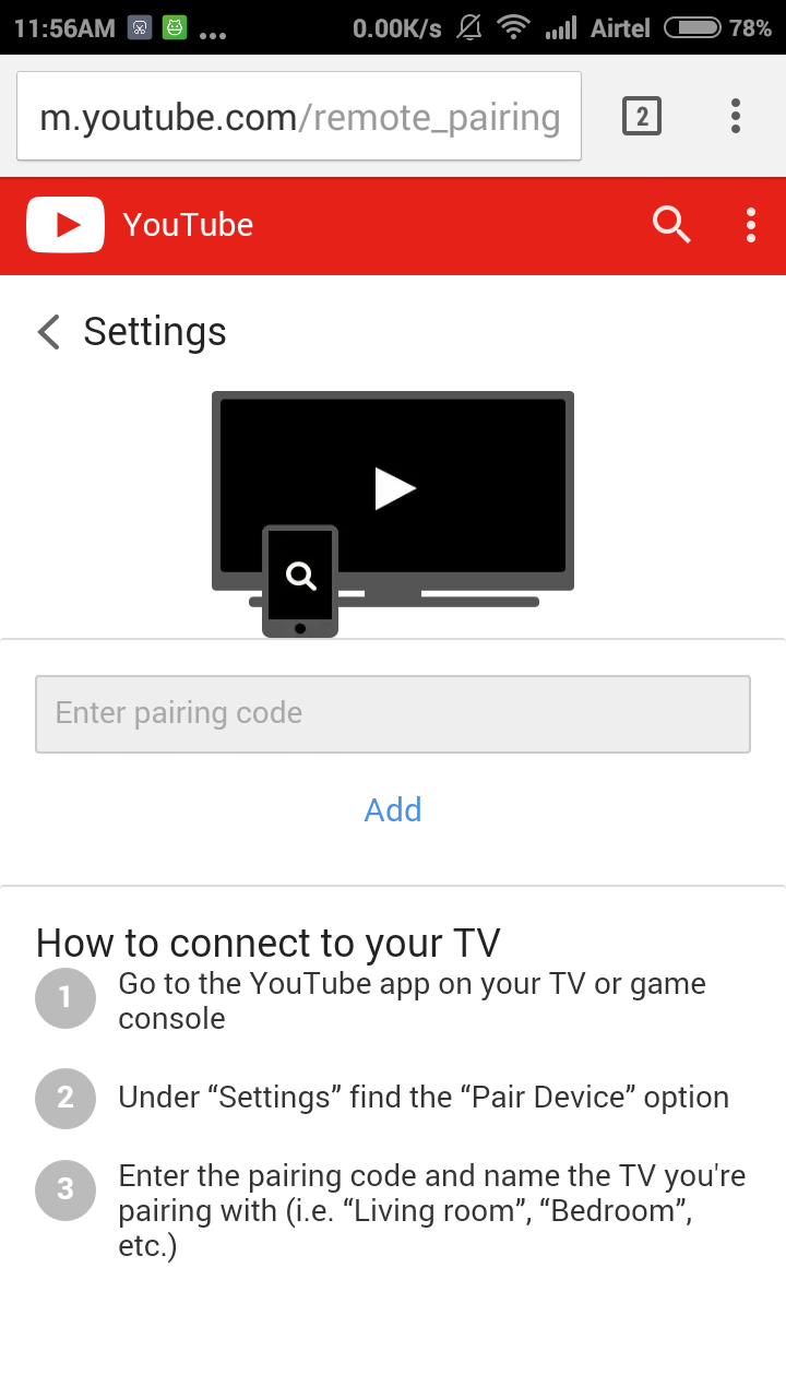 Control youtube from phone
