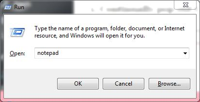 Open Notepad.exe from Run Program
