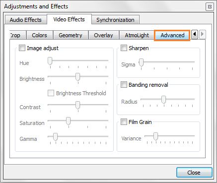 Video Effects Setting in VLC Media Player