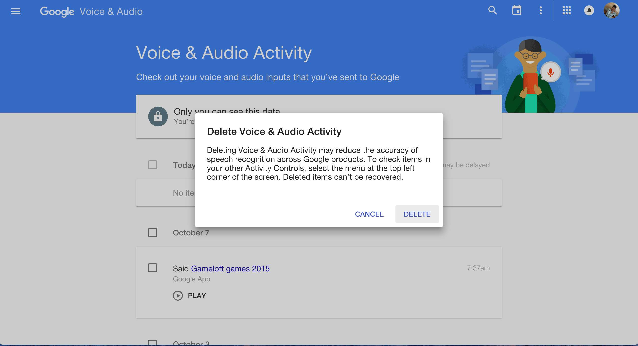 Delete All Google Voice Search History
