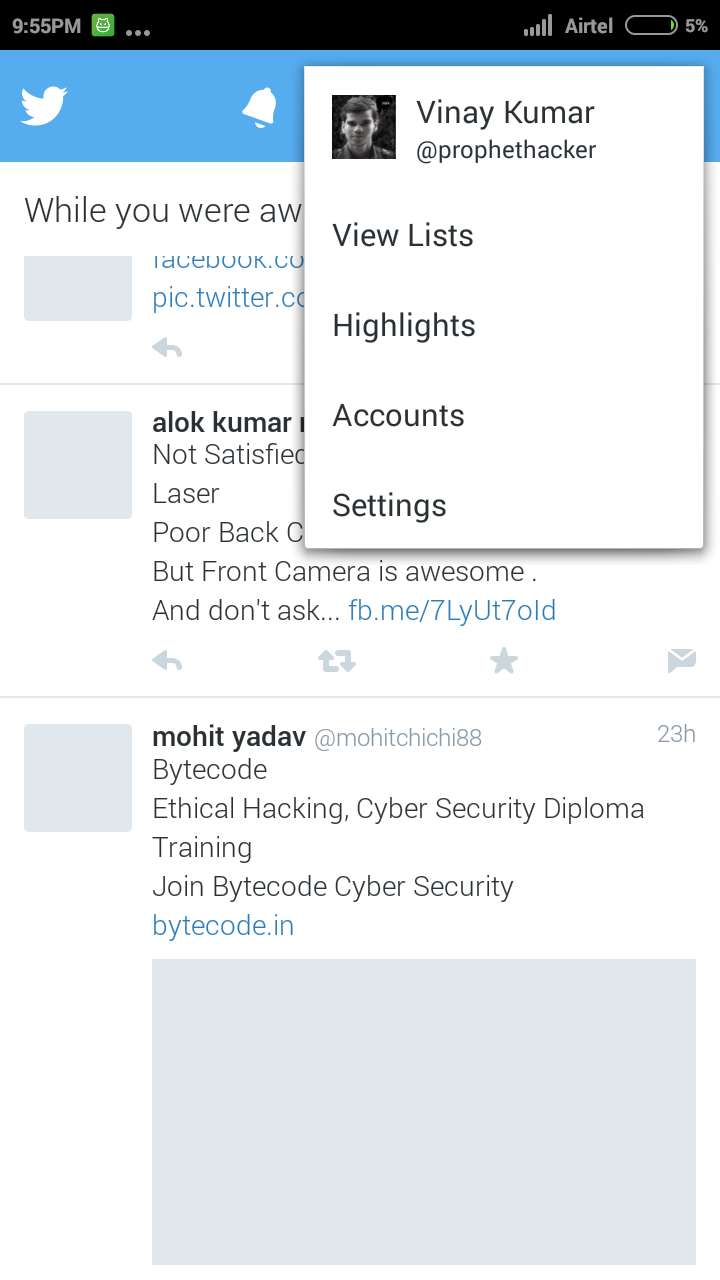 Settings in Twitter Android App