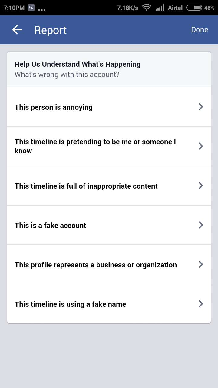 Report Fake Facebook Account