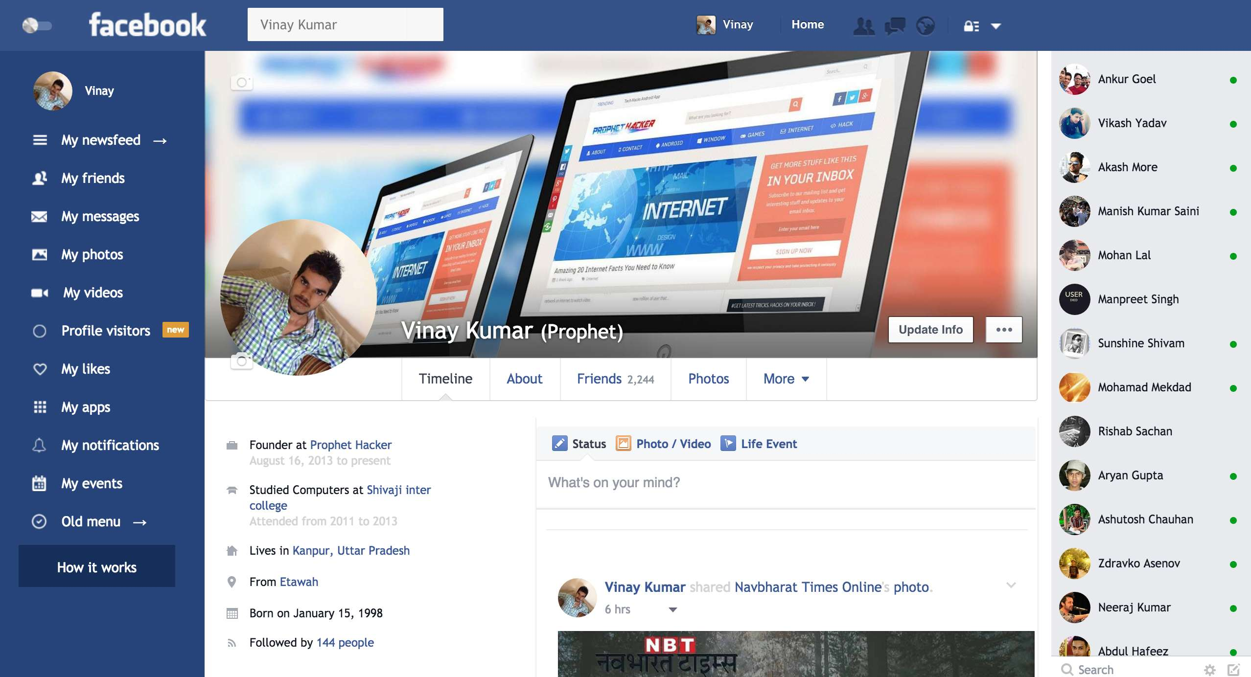 Facebook New Profile Design