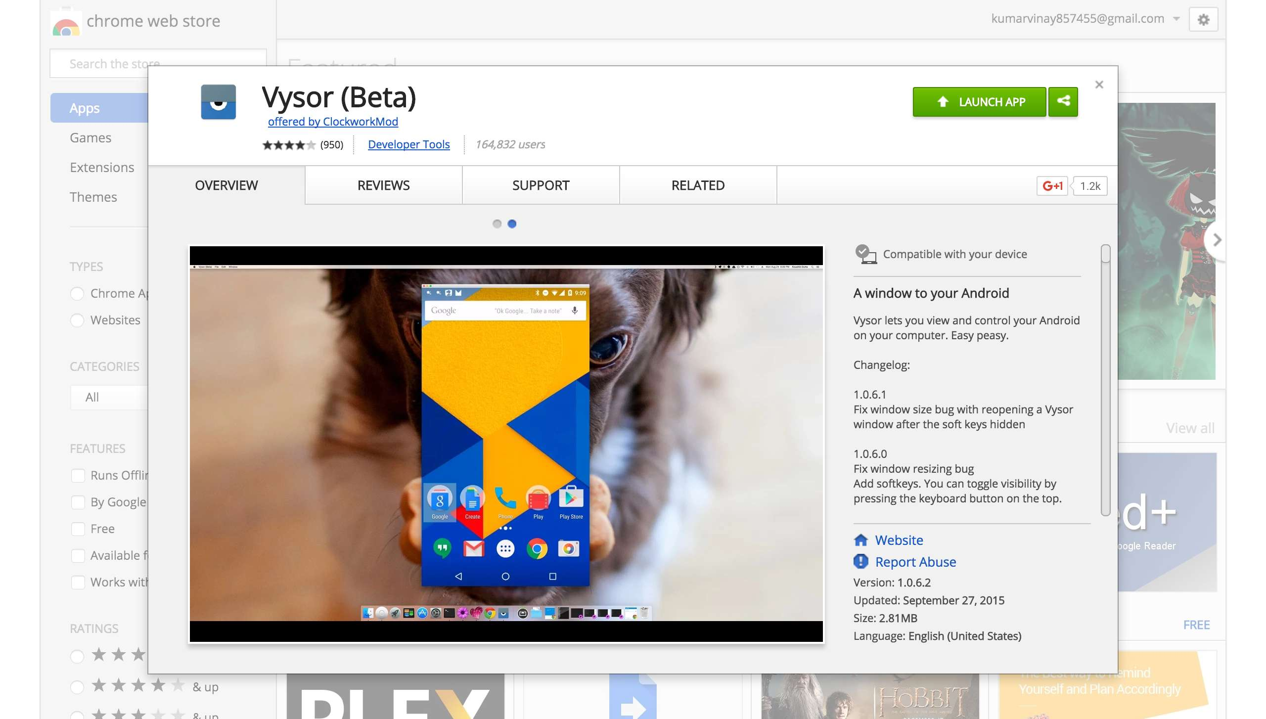 Vysor App in Chrome Web Store
