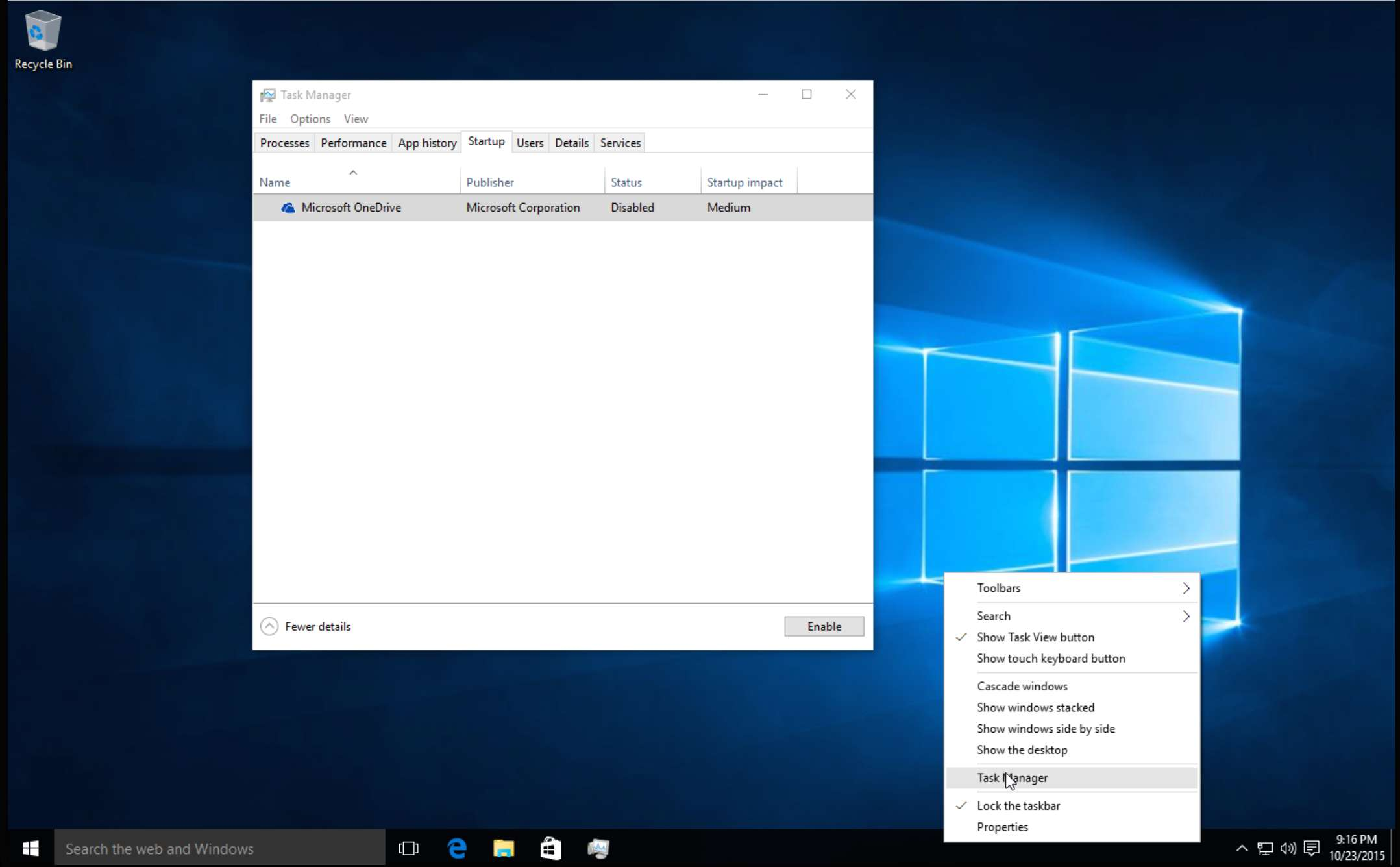 Disable Startup Programs in Window 10