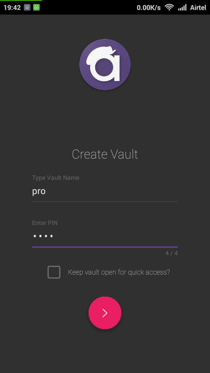 Create Vault in Androgito