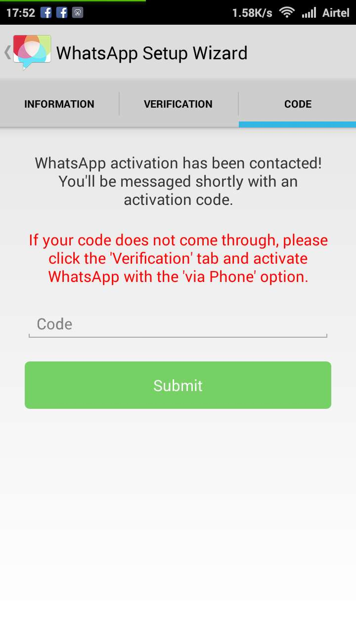 Confirm your mobile number from OTP in Whatsapp Account
