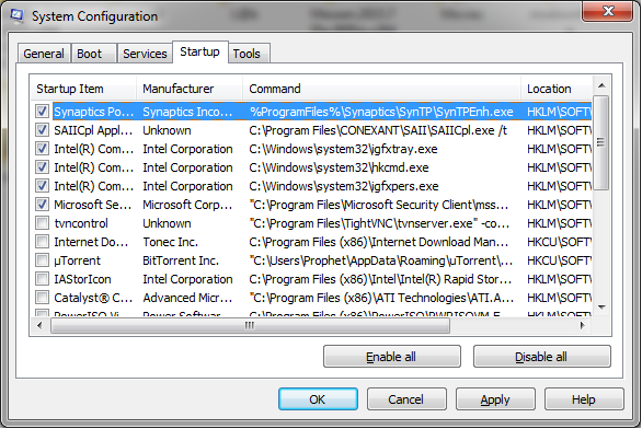 Disable Startup Programs in Window 7