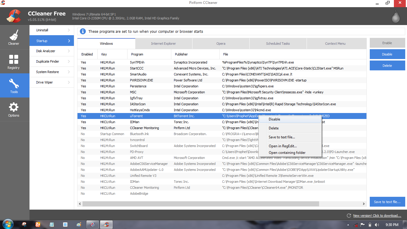 Disable Startup Programs in CCleaner