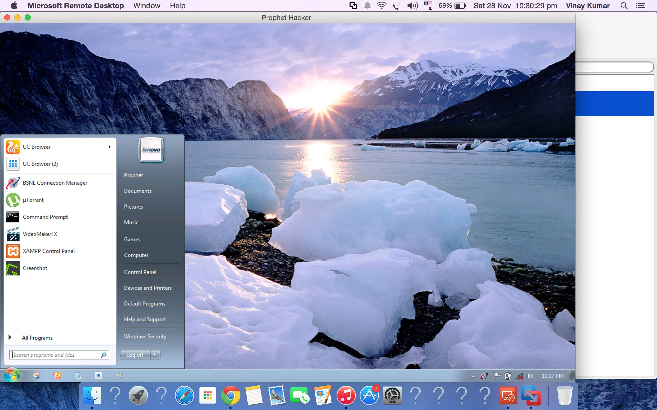 Control Window 7 from Mac OSX with Microsoft RDP Client