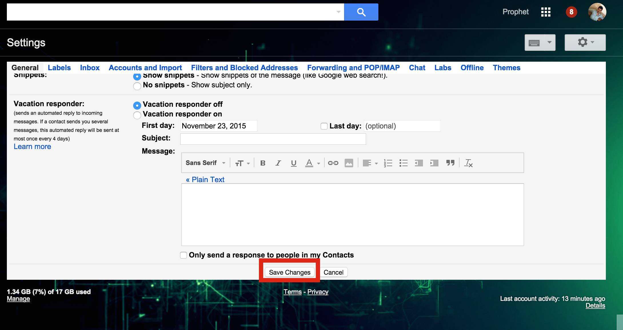Save Changes in Gmail Notifications