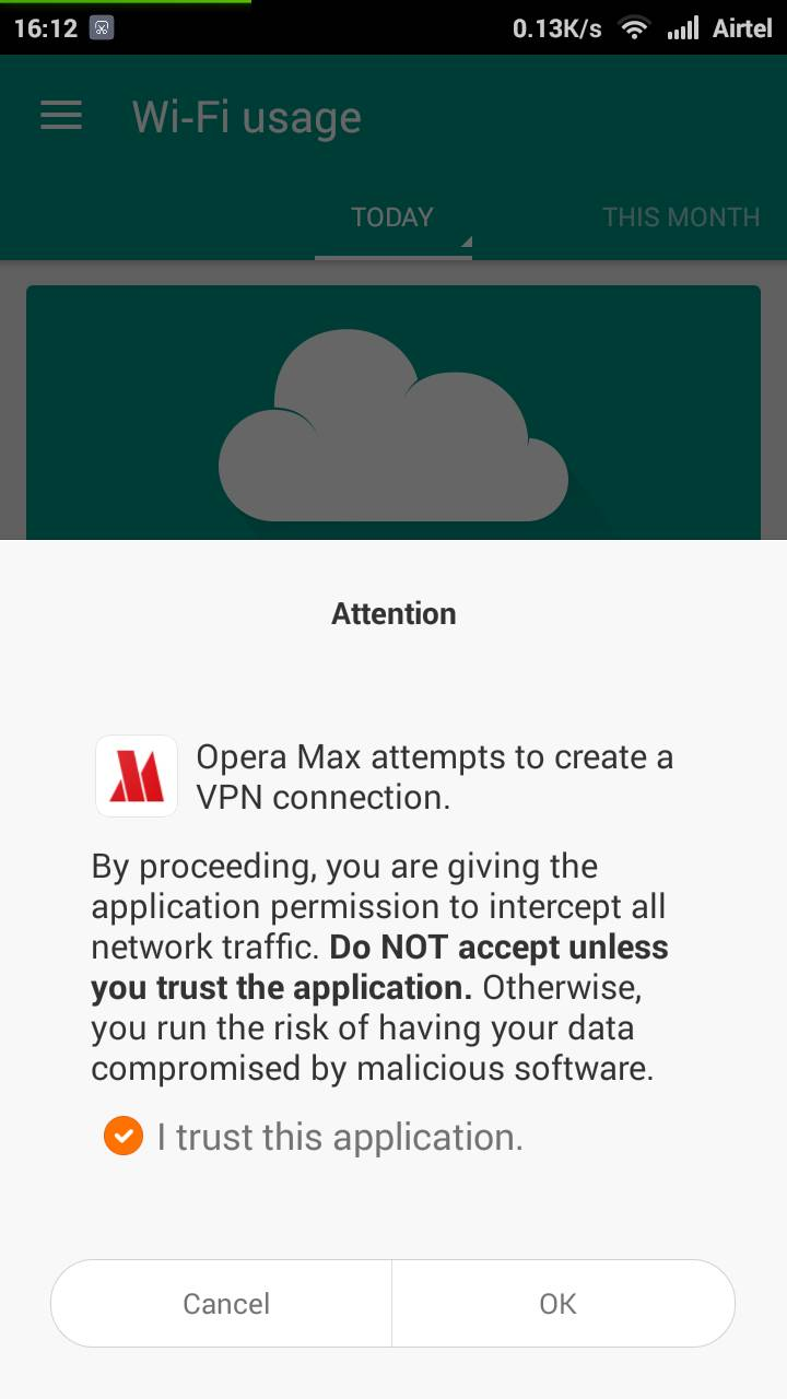 Opera Max Notification