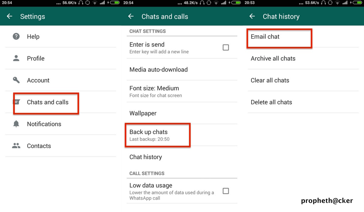 Email Backup in Whatsapp Messenger