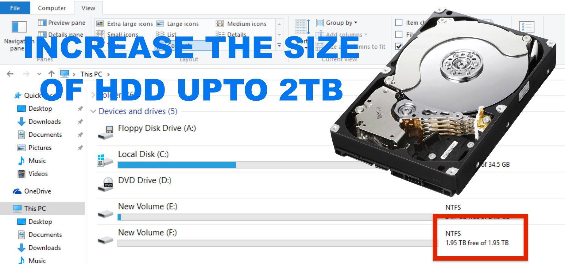Increase the Size of HardDisk in Window 10