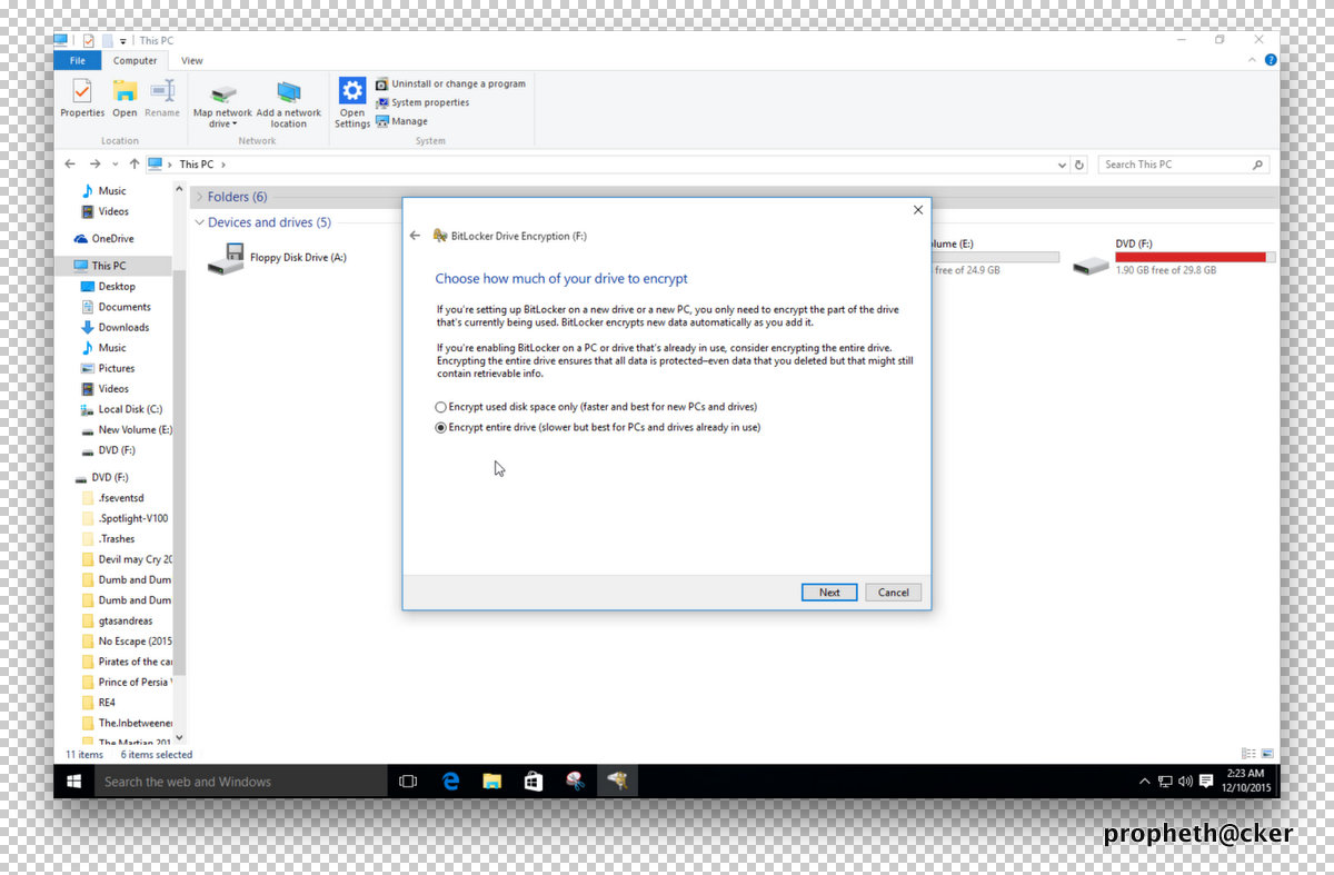 Encrypt Entire Drive for Bitlocker Encryption in Window