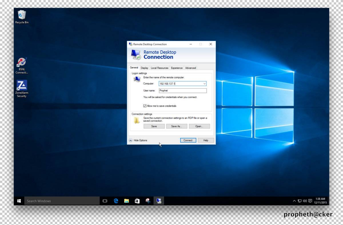 Remote Desktop Connection in Window 10