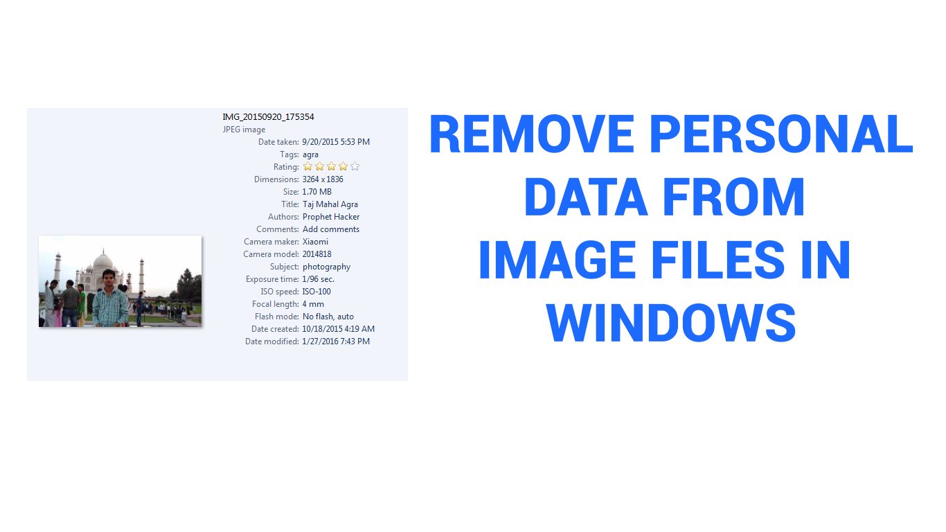 How to remove Personal data or Properties from image files in Windows