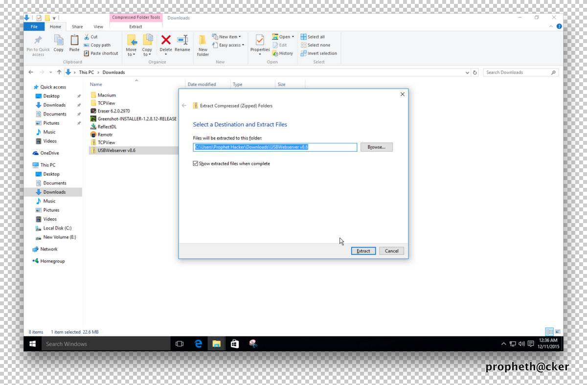 Extract Files in Window 10