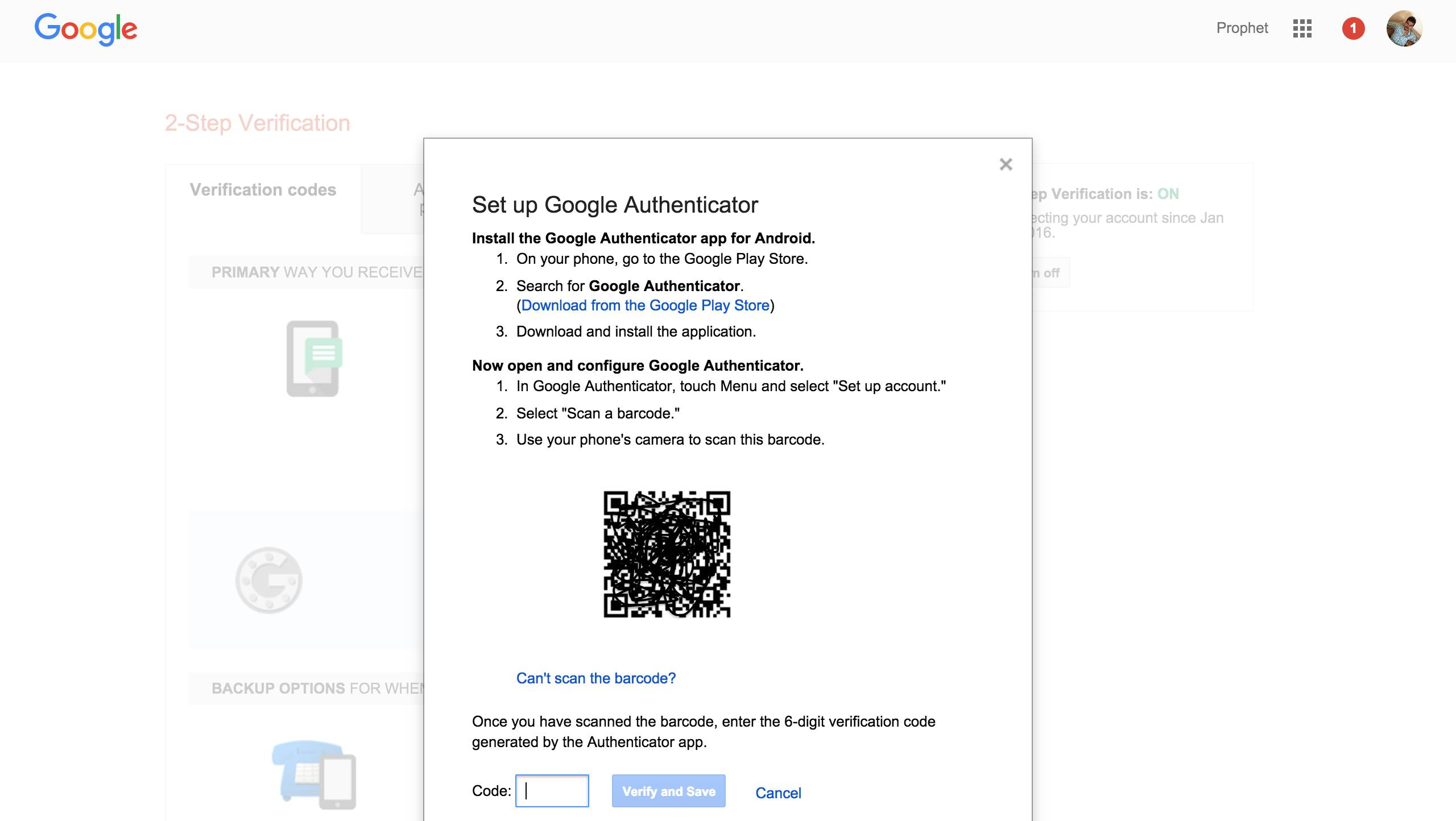 Scan QR Code for Two Step Verification in Google