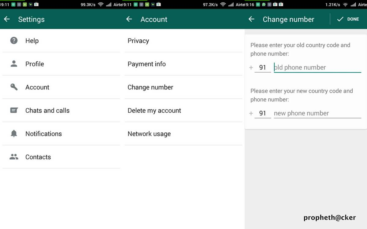 Change Phone Number in Whatsapp