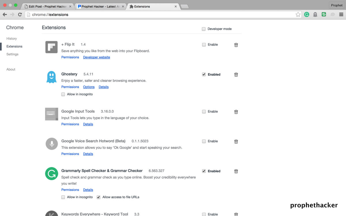 List of Chrome Extensions in Google Chrome