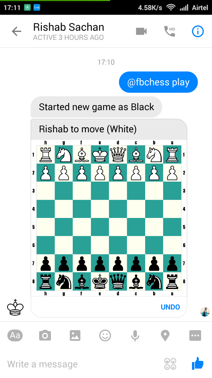 Facebook Messenger New Chess Game in Mobile App