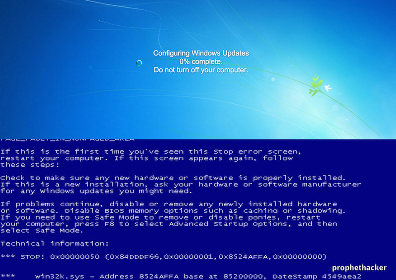 Fake Blue Screen Death from Website