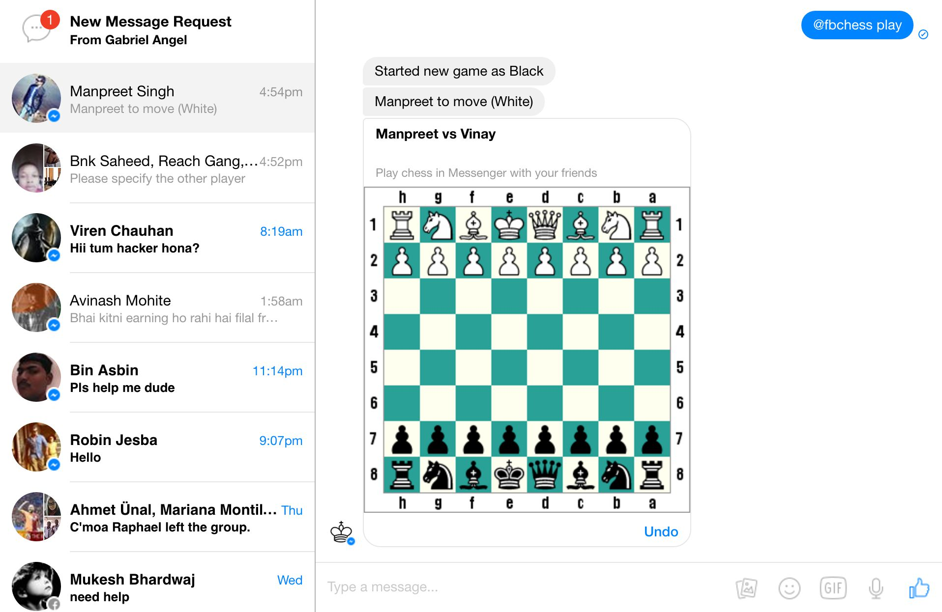 Facebook Messenger New Chess Game