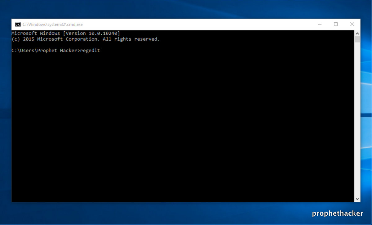 Open Registry Editor in Windows from Command Prompt