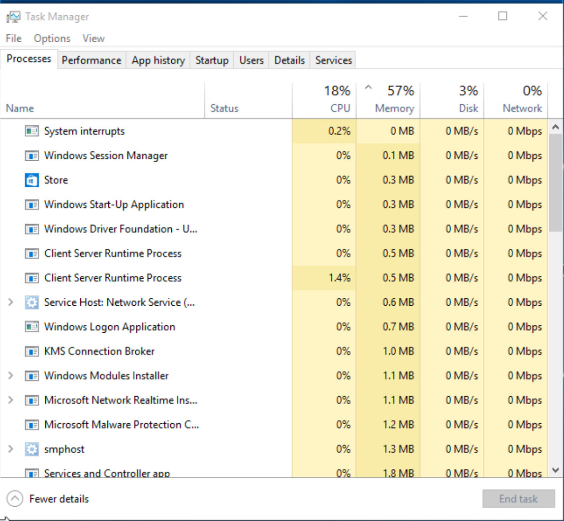 Task Manager in Window 10