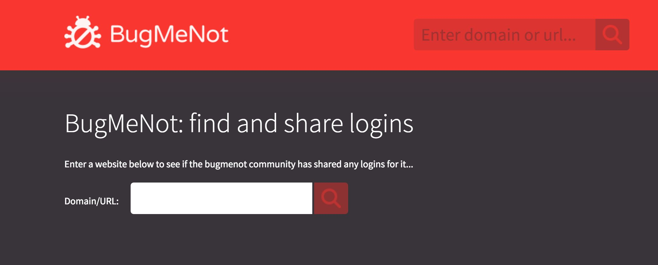 Bugmenot- Find Shared Logins of any website