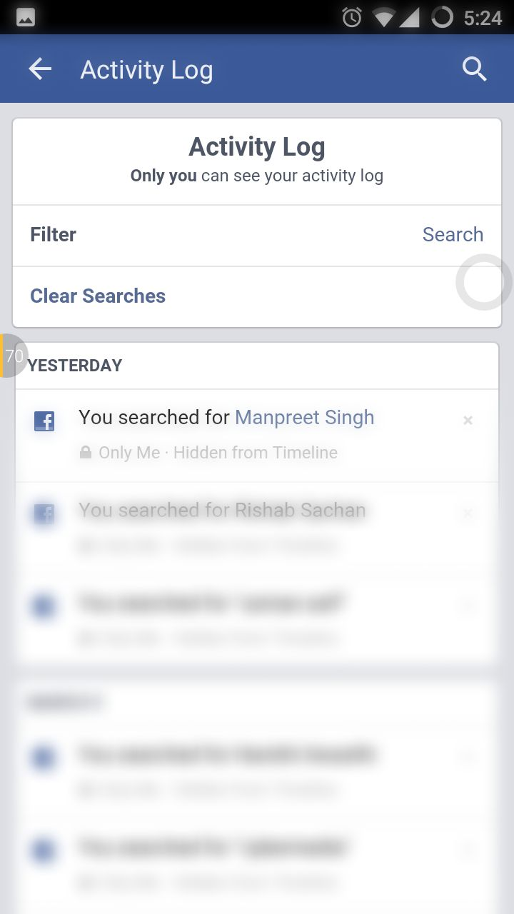 To clear everything you search on facebook clear facebook android app search history ccuart Images