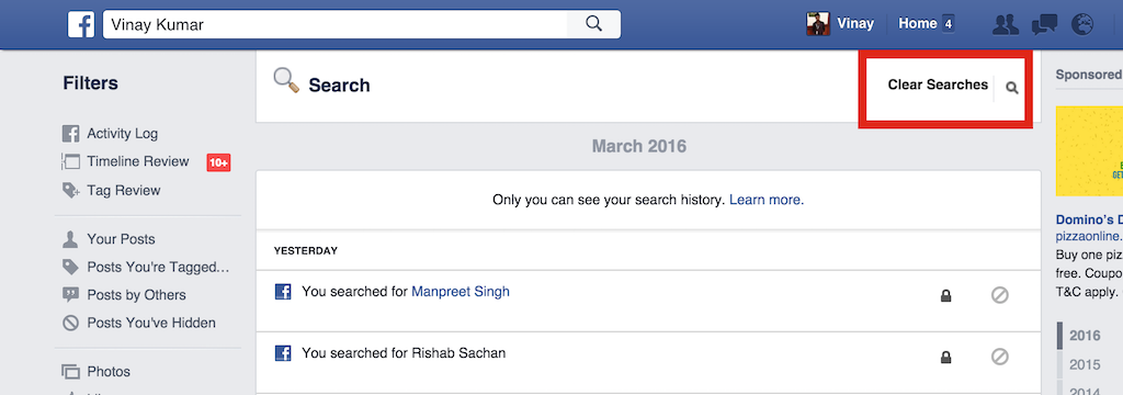 Clear Search History on Facebook Web