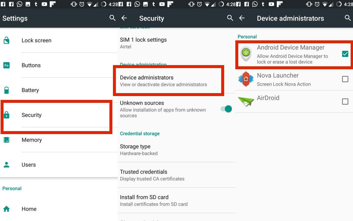 Android Device Manager Settings in Phone