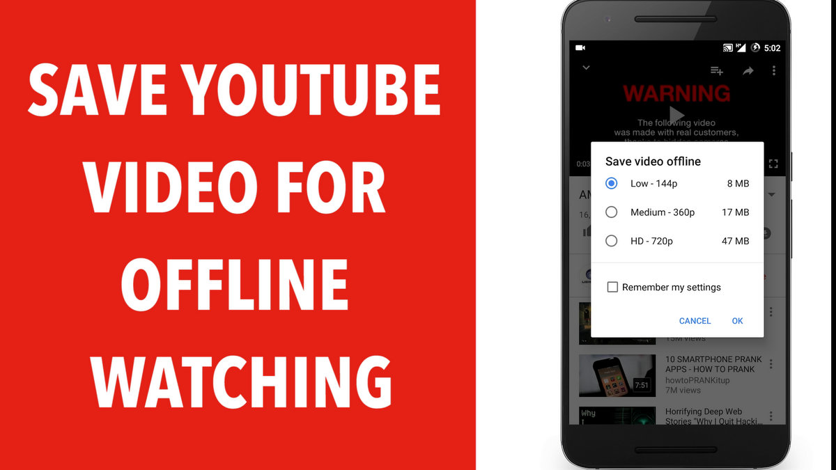 Save Youtube Video for Offline Watching