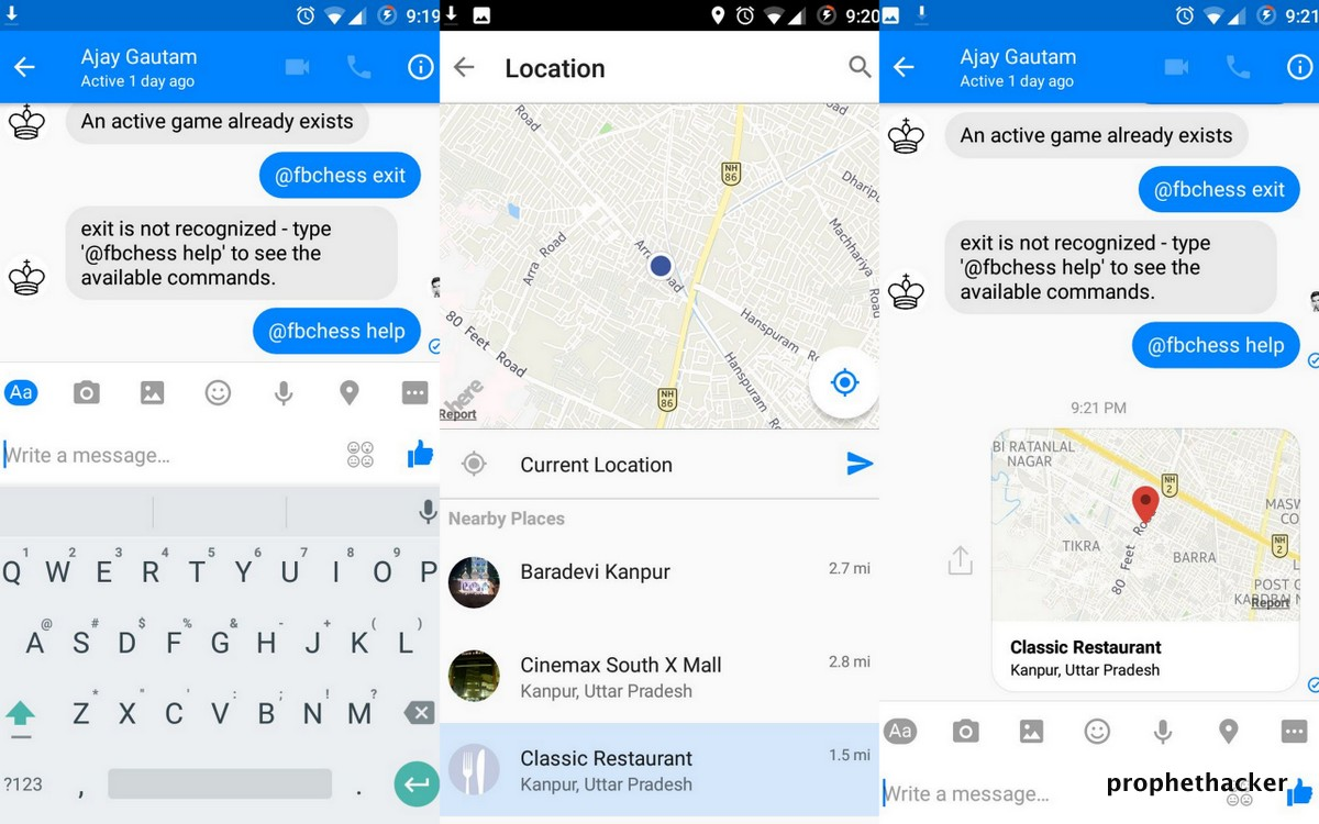 Share Location with your Facebook Messenger