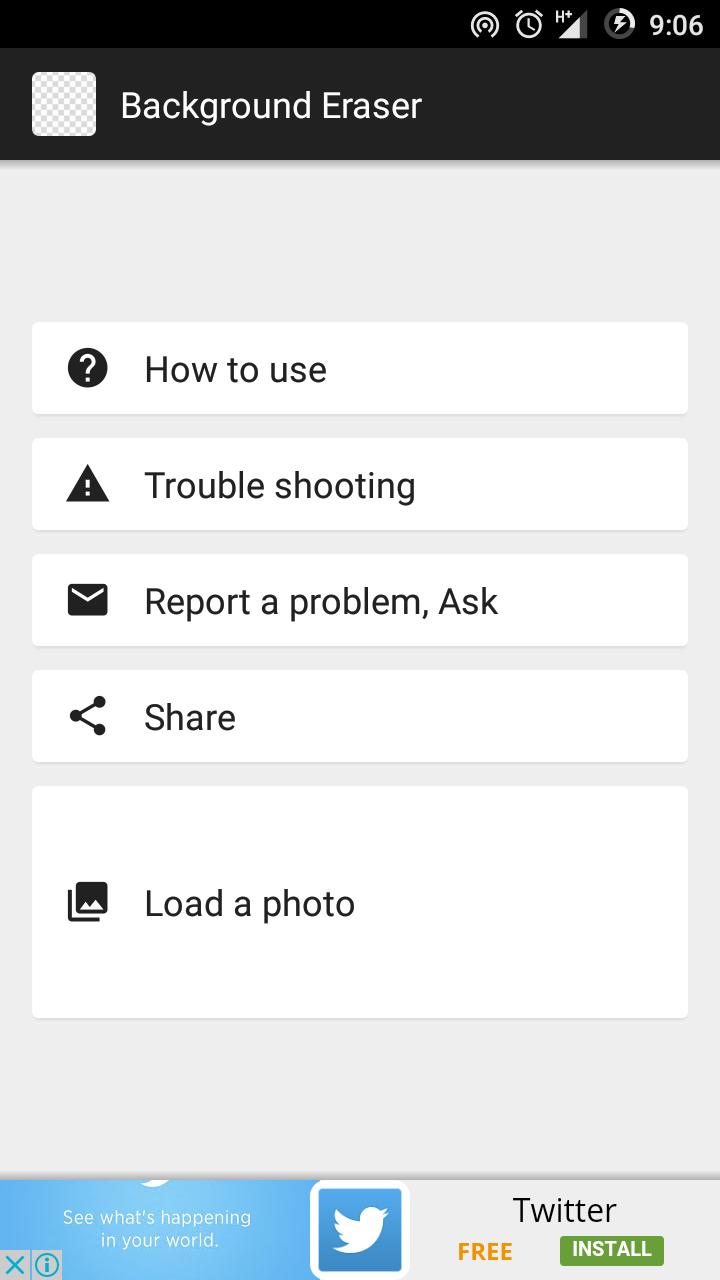 Load your Photo in Background Eraser App