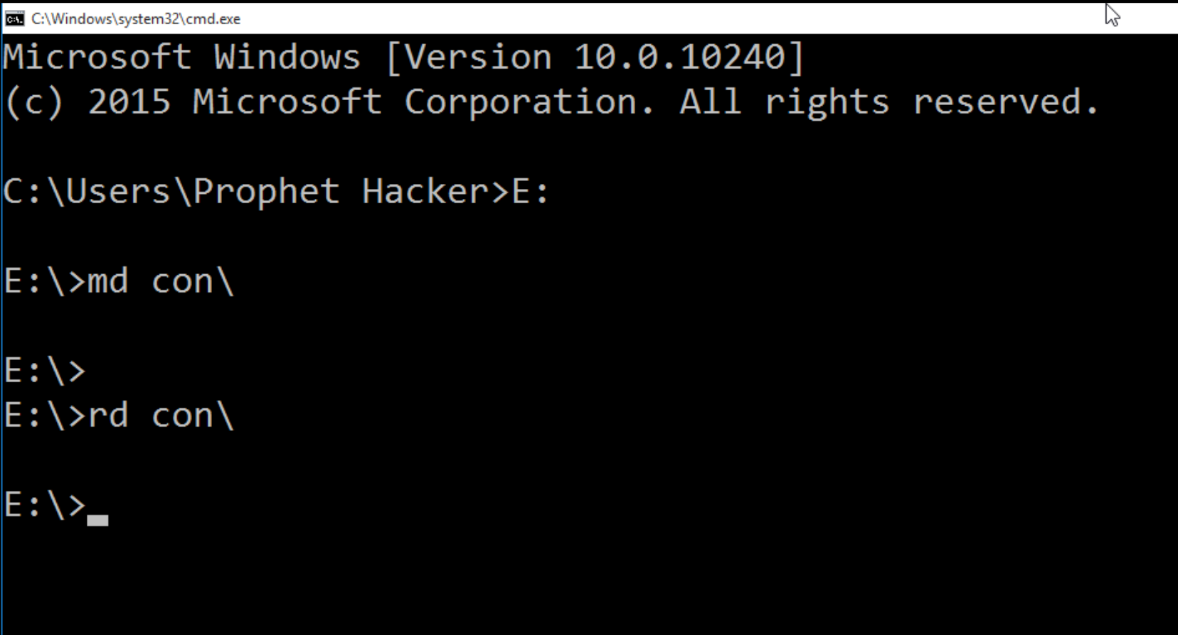 Create Undelete Folder from Command Prompt