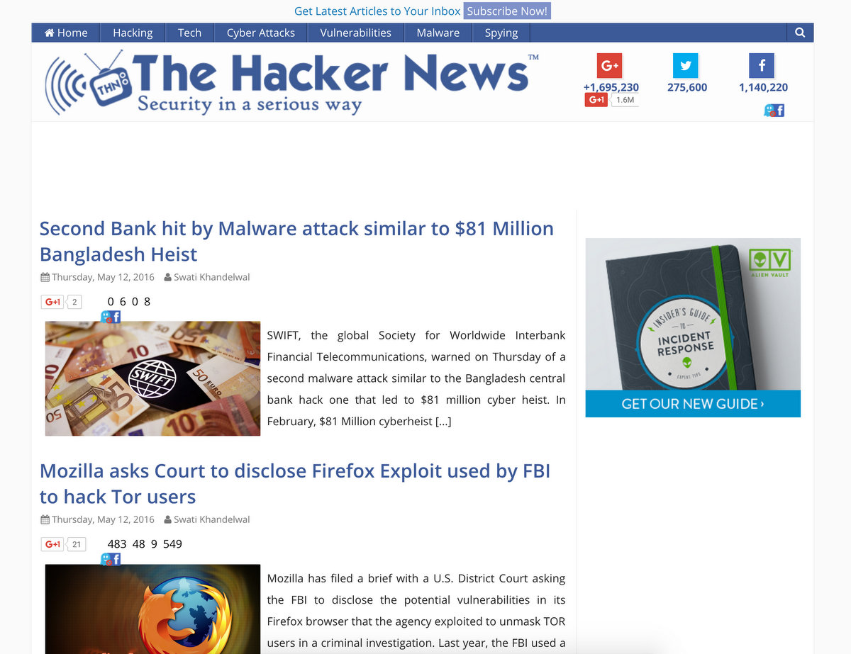 TheHackernews- Ethical Hacking and News Website