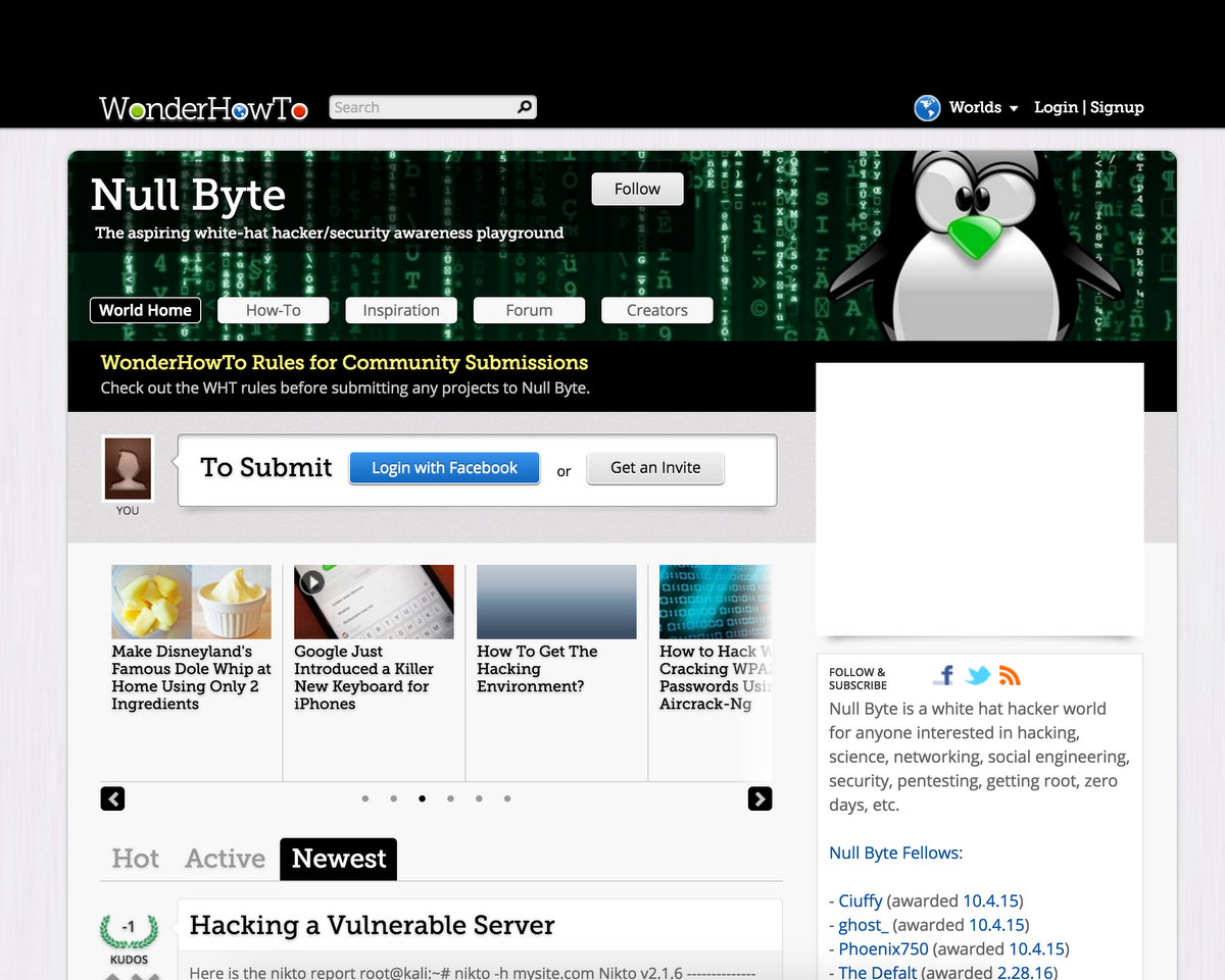 Nullbuyte Wonderhow to Hacking Articles and Tutorials