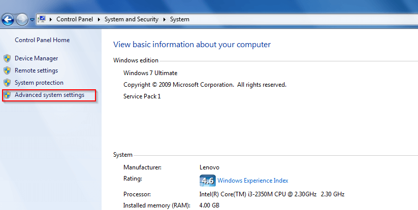 Advanced System Settings in Computer Properties