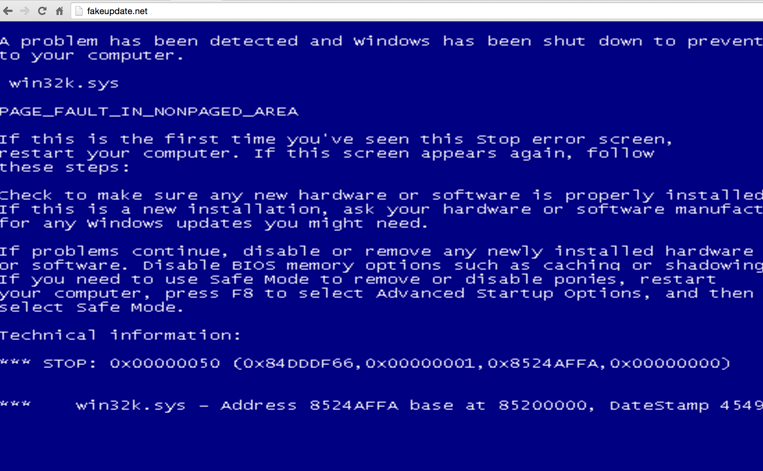Fake Blue Screen Death in Window PC
